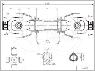 kardántengely 20LE (15kW), 650mm, traktor (2)