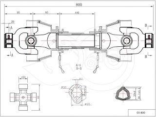 kardántengely 20LE (15kW), 800mm, traktor (2)