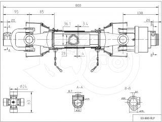 kardántengely 20LE (15kW), 800mm, szabadonfutós, traktor (3)