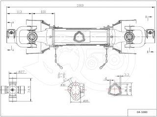 kardántengely 34LE (25kW), 1000mm, traktor (2)