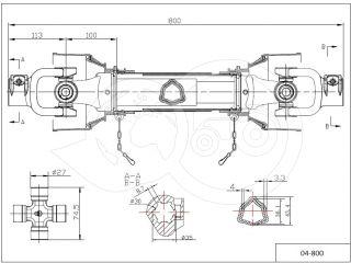 kardántengely 34LE (25kW), 800mm, traktor (3)